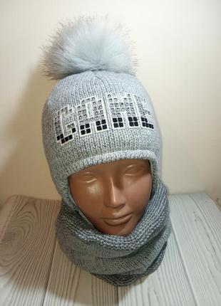 Ambra шапка хомут зимний комплект набор