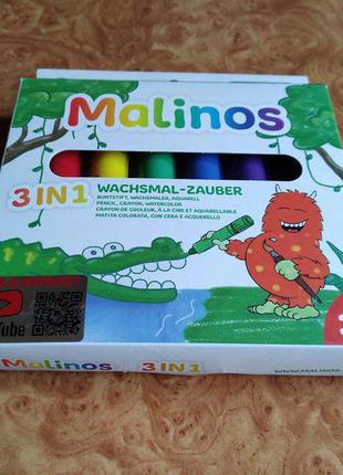 Восковые карандаши malinos wachsmal-zauber 3 в 1 6 шт (ma-301036)