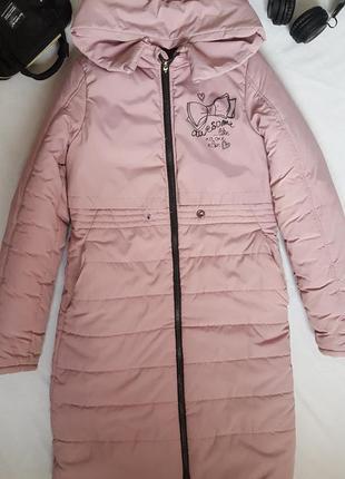 Пальто пуховик для девочки рост 146см