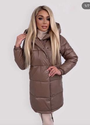 Зимнее пальто из кожзама