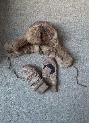 Зимняя шапка ушанка и перчатки на мальчика