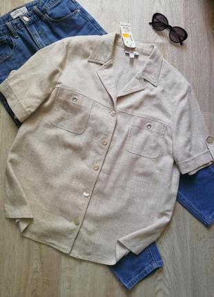 Льняная рубашка, блузка свободного кроя, рубашка свободного кроя