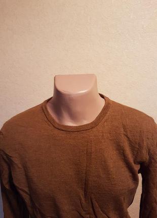 Шерстяной горчичный свитер zara