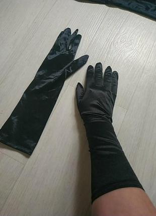 Черные стрейчевый перчатки до середины локтя