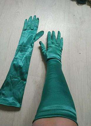 Шикарные высокие винтажные перчатки из стрейч атласа