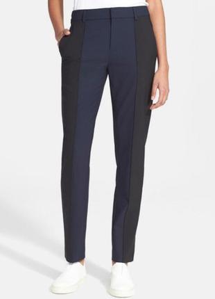 Vince брендовые комбинированные шерстяные брюки.