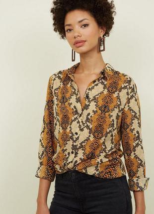 Рубашка со змеиным принтом new look, блузка