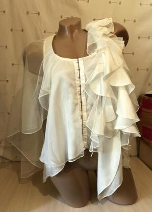 Стильная блуза на одно плечо с рюшами / топ / корсет майка