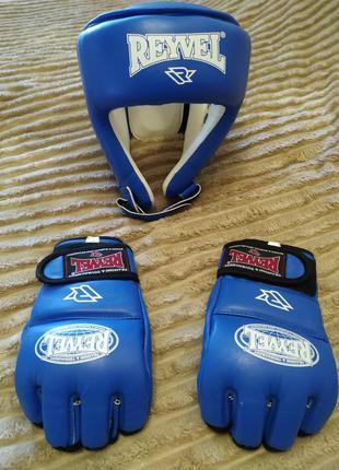 Боксерские перчатки шлем reyvel для мма