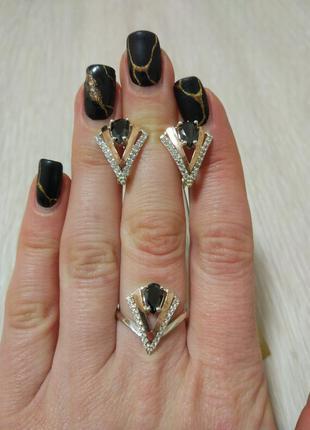 Сережки, кольцо набор серебро 925' золото 375'