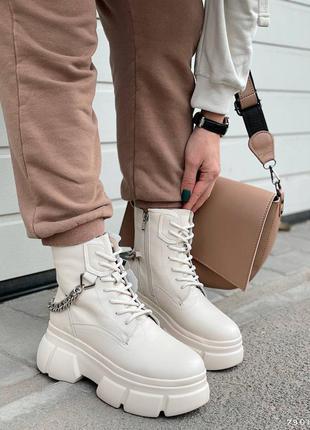 Ботинки бежевые кожа