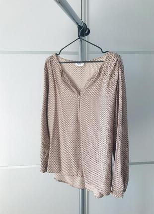 Блуза, женская легкая блузка в интересный принт, бежевая блуза.