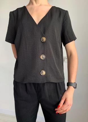 Блуза женская, трендовая блуза на пуговицах, блузка чорна черная блузка стильная f&f.