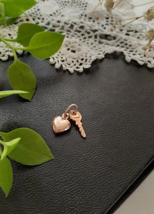 🗝💖 подвеска ключ от сердца парный кулон серебряный в позолоте клеймо украина сердечко ключик