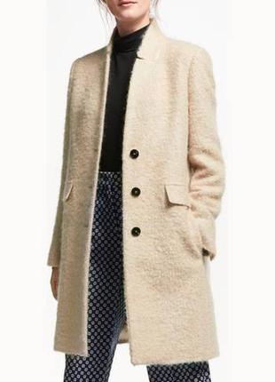 Бежевое пальто marella , шерсть + мохер