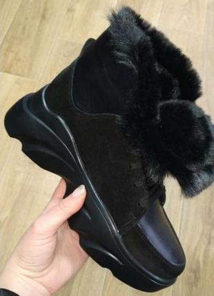 Зимние ботинки,высокие кроссовки на меху, натуральная кожа и замша.