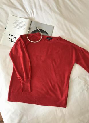Джемпер / кофта / свитер красный с объёмными рукавами