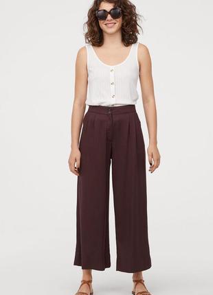 Прямые , широкие коричневые брюки новые h&m