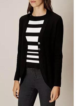 Трикотажный блейзер вязаный пиджак чёрный пиджак кардиган чёрный karen millen