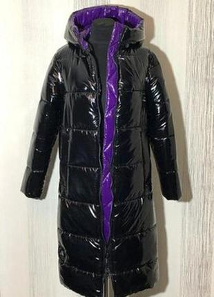 Зимний двухцветный пуховик,пальто, размерчик м.
