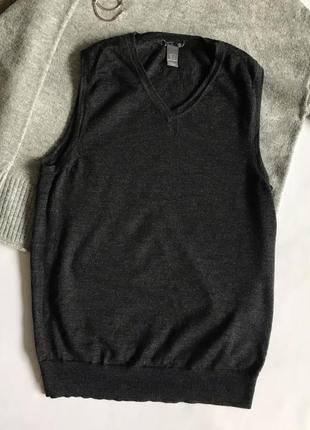 Темно-серая шерстяная жилетка / безрукавка