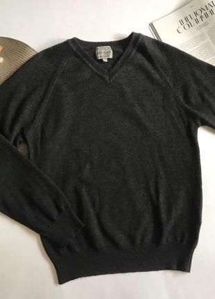 Серый шерстяной джемпер / свитер с v- вырезом river island