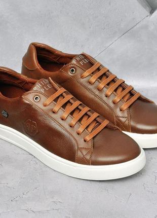 Philipp plein  мужские кожаные кеды кроссовки весна осень