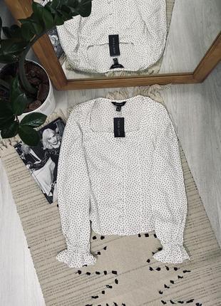 Красива блуза в горох з натуральної тканини від new look,нова🌿