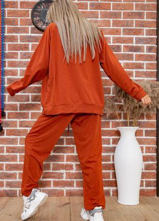 Новинка!!демми /терракотовый костюм худи оверсайз брюки 4 цвета- 52-54. 56-58р.