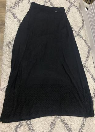 Вязаная теплая юбка ажурная шерсть