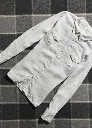 Женская полосатая льняная рубашка marks&spencer ( маркс и спенсер ххл-3хлрр идеал оригинал)