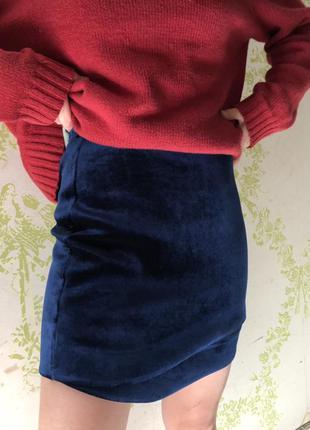 Велюровая короткая юбка topshop l-xl/12-14