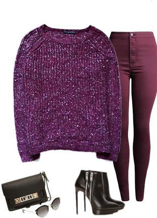 Очень красивый нарядный свитерок  с люрексом  и пайетками  насыщенного винного цвета