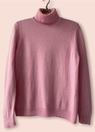 100% шерсть. розовый свитерок тёплый на осень под горло
