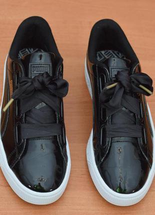 Черные женские кроссовки с лентами puma basket, 37 размер. оригинал
