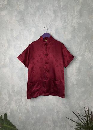 Шелковая блуза в японском стиле рубашка накидка 100% шелк