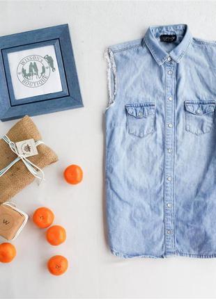 Джинсова рубашка безрукавка від topshop
