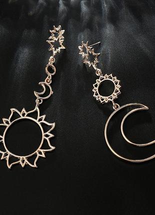 Серьги асимметрия луна солнце месяц / большая распродажа!