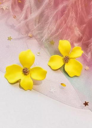 Матовые серьги жёлтые цветы / большая распродажа!