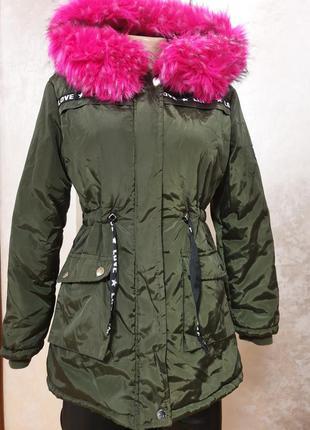 Куртка парка подростковая 14лет теплая