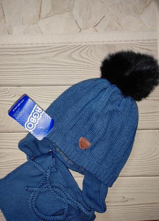 Шапка шарф теплый зимний набор agbo польша
