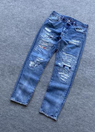Стильні завужені світлі джинси levis 501 ct distressed w34 l 34