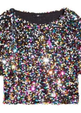 Блестящая блуза кроп топ паетки пайетки
