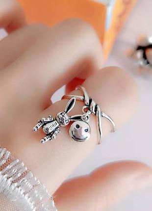 Креативное кольцо подвески заяц смайл серебро 925 / большая распродажа!
