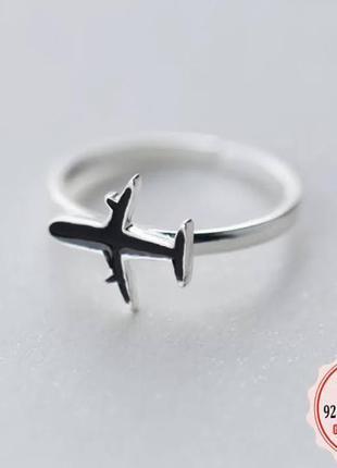 Кольцо с самолетом серебро 925 / большая распродажа!
