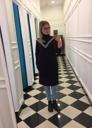 Теплое платье худи oversize
