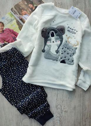 Пижама, пижамка, флисовая кофта и хлопковые штаны
