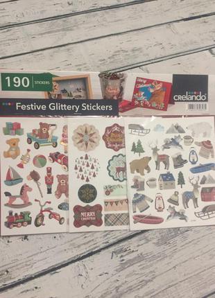 Crelando большой набор наклейки новогодние