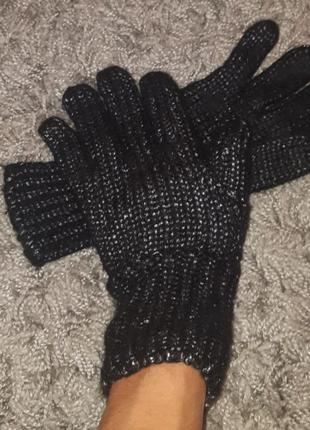 Перчатки черные с люрексом