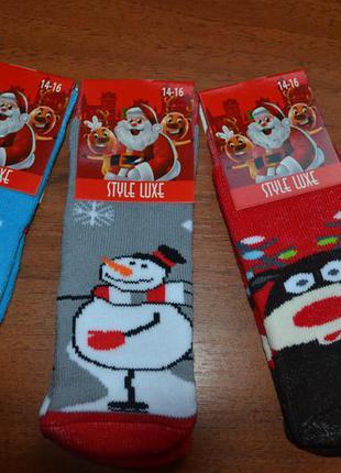 Махровые детские новогодние носки// дед мороз, олень,снеговик